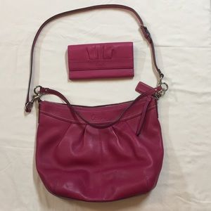 Coach pink purse and wallet set